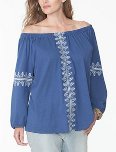 Chaps Plus-size Off-Shoulder Embroidered Top