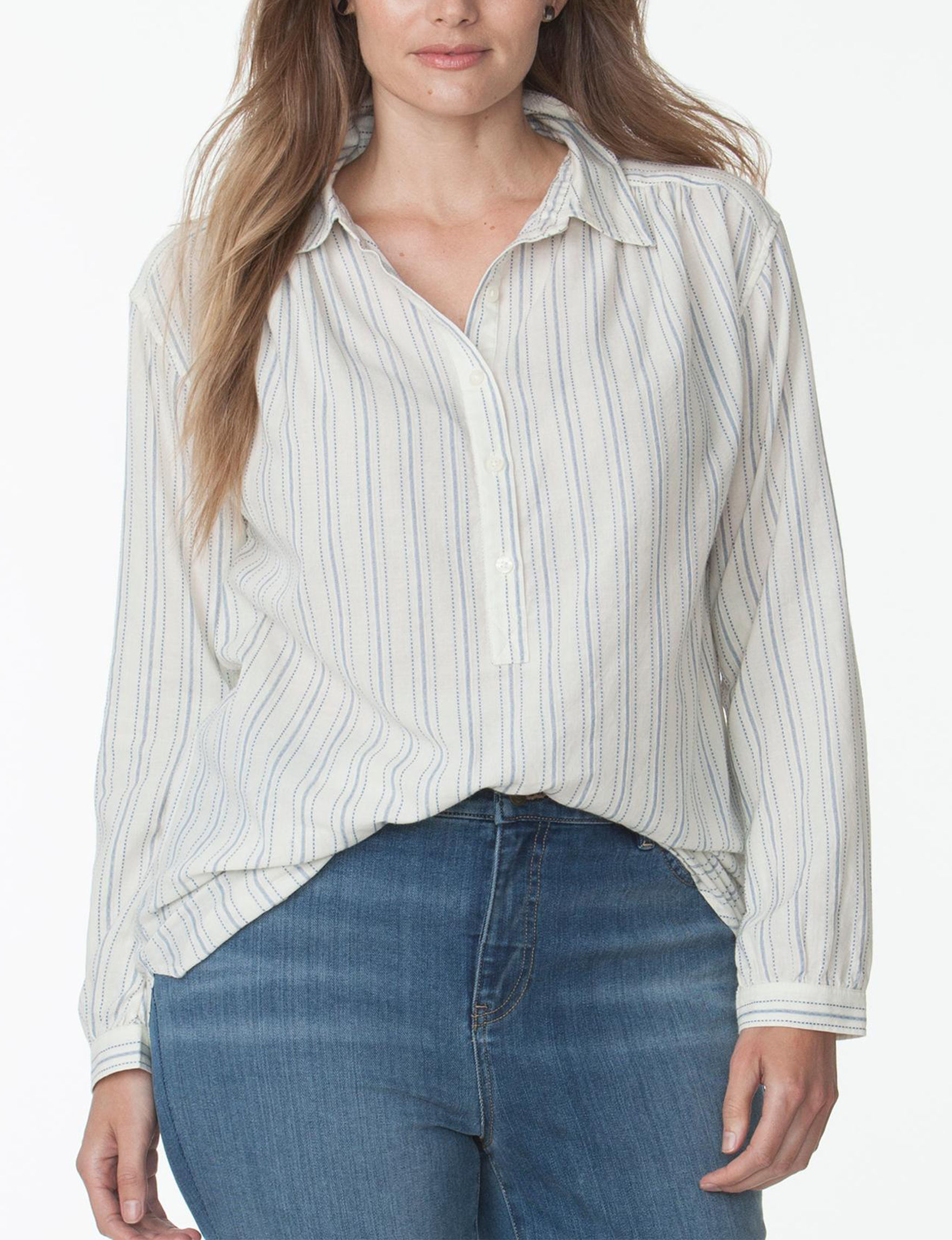 Chaps Blue/ Cream Shirts & Blouses