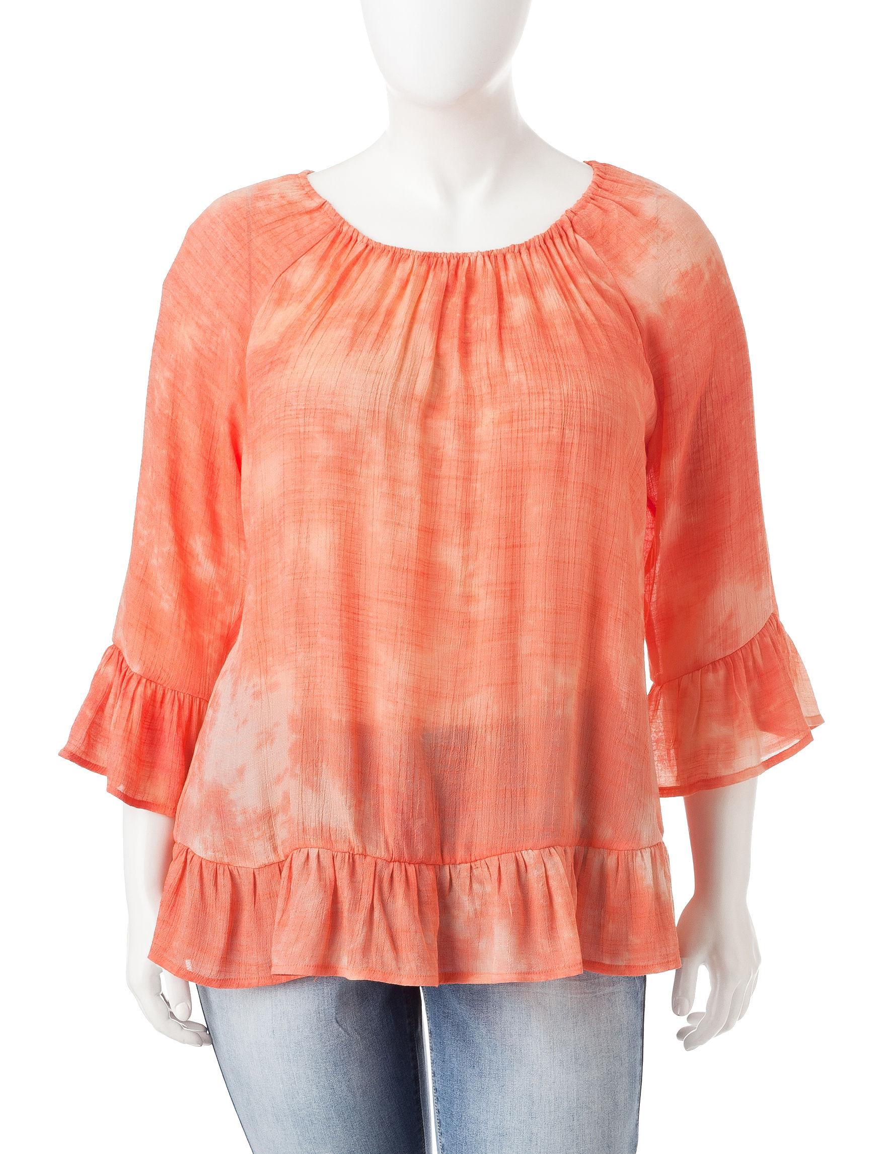Hannah Orange / White Shirts & Blouses