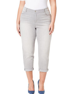 Gloria Vanderbilt Plus-size Stefania Belted Rolled Cuff Crop Pants