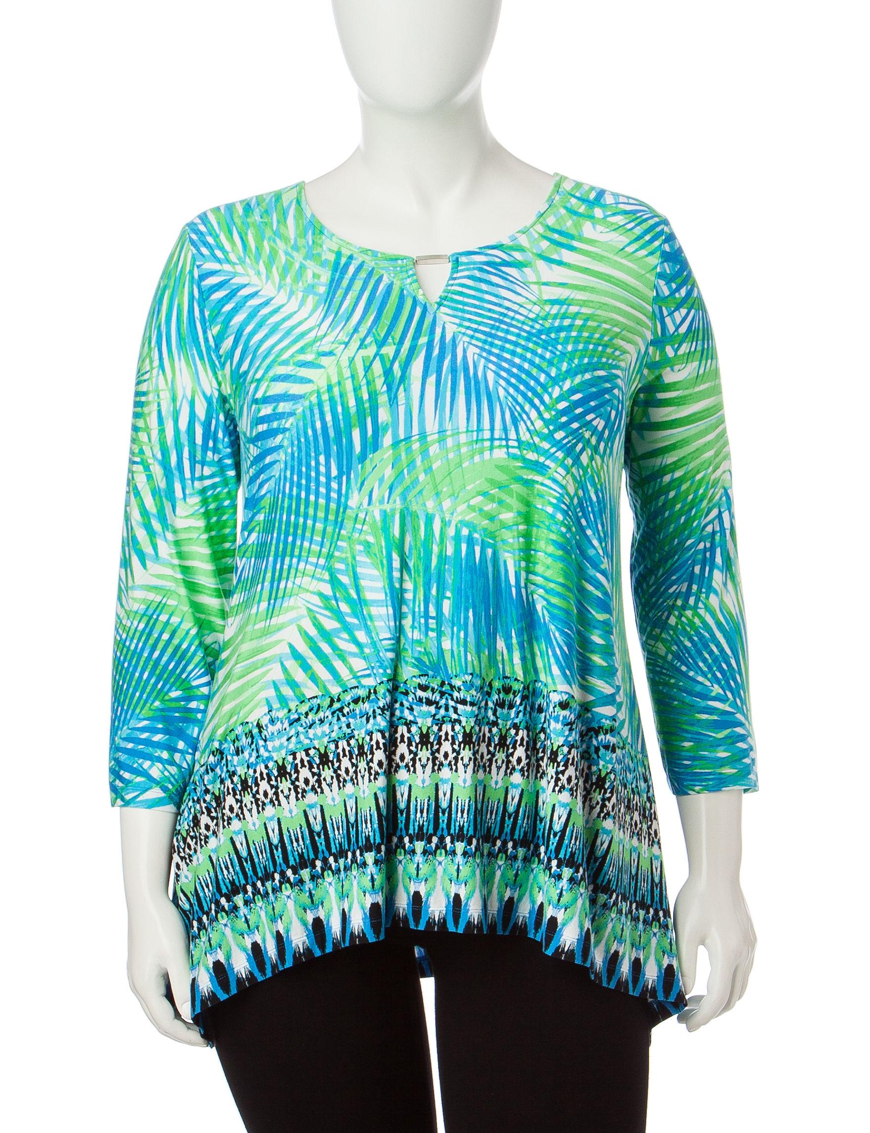 Ruby Road Blue Multi Shirts & Blouses