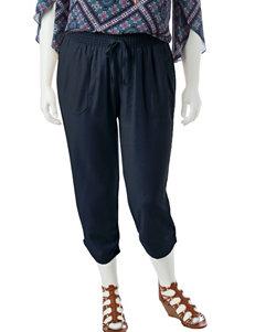 Signature Studio Plus-size Smocked Linen Capri Pants