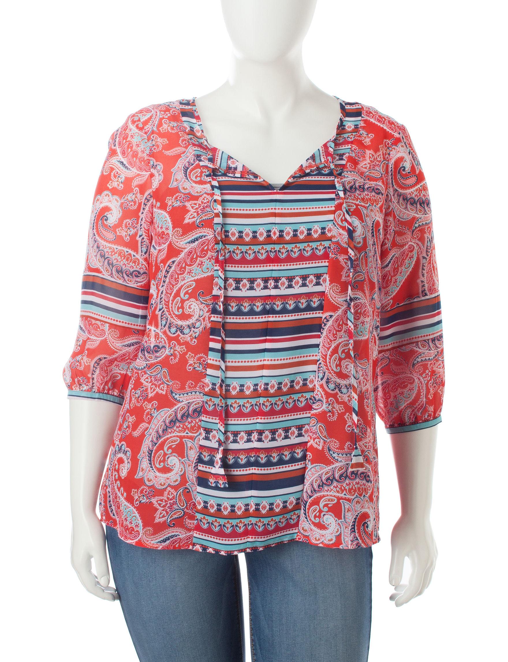 Valerie Stevens Red / Navy Shirts & Blouses