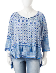 Hannah Plus-size Tassel Accented Peasant Top