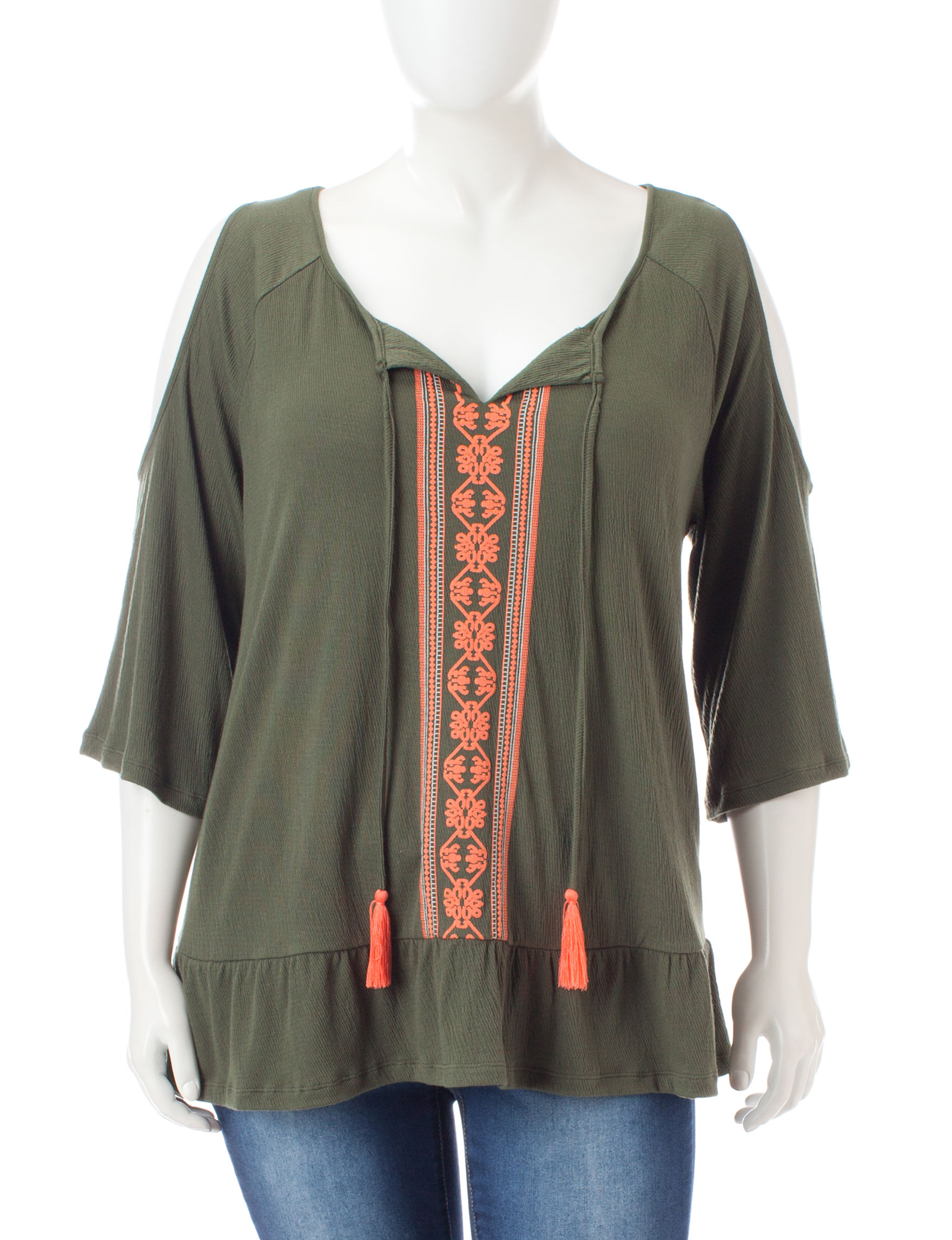 Signature Studio Orange / Green Shirts & Blouses