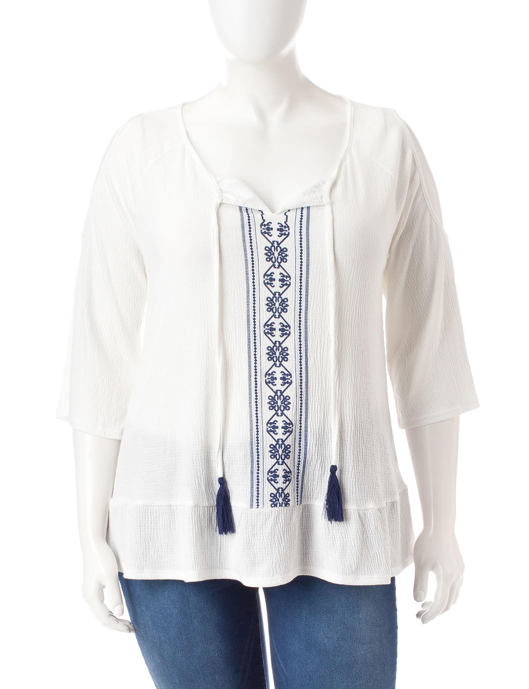 Signature Studio White / Navy Shirts & Blouses