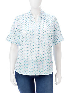 Cathy Daniels Plus-size Schiffli Eyelet Embroidered Top