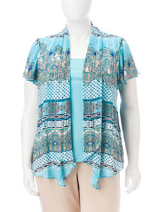 Sara Michelle Turquoise Multi Shirts & Blouses
