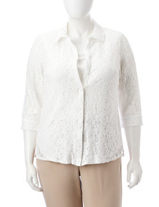 Sara Michelle Plus-size Lace Layered-Look Top
