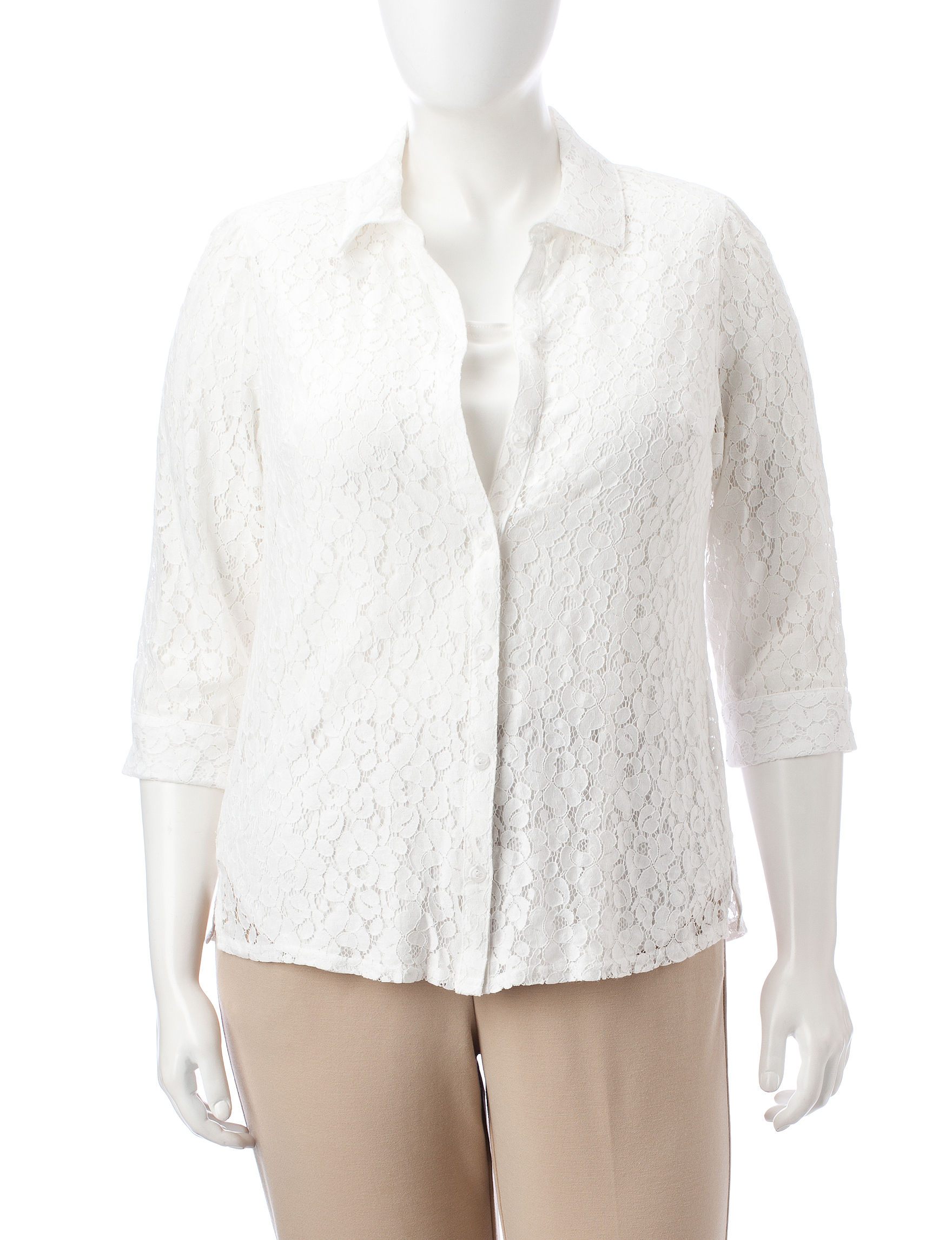 Sara Michelle Off White Shirts & Blouses