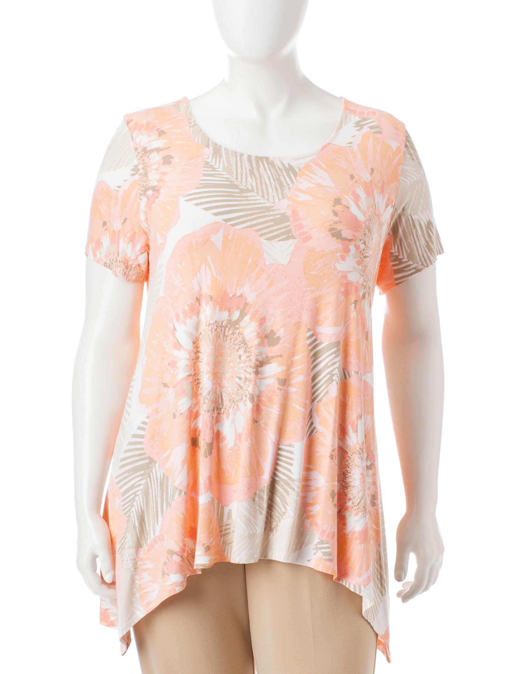 Ruby Road Orange Multi Shirts & Blouses