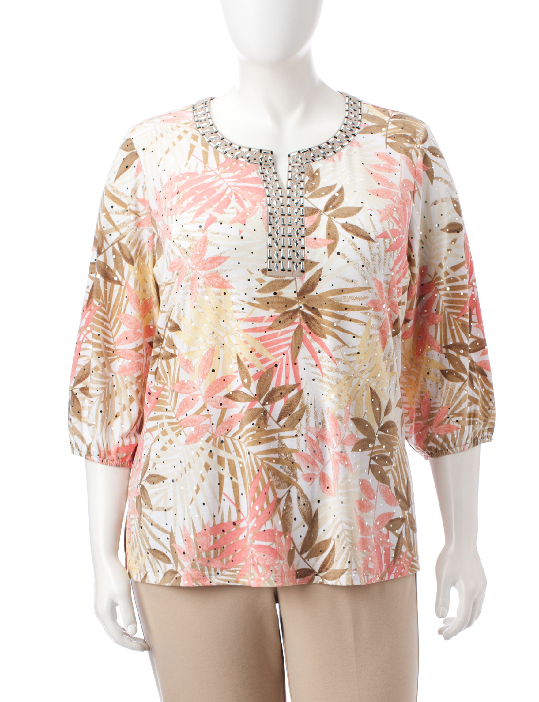 Cathy Daniels Pink / Green Shirts & Blouses