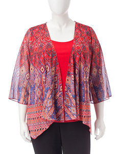 Sara Michelle Red Multi Shirts & Blouses