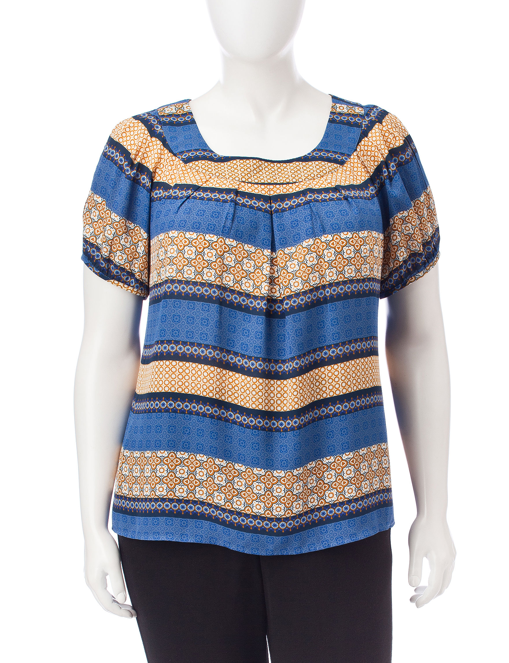 Sara Michelle Blue Multi Shirts & Blouses