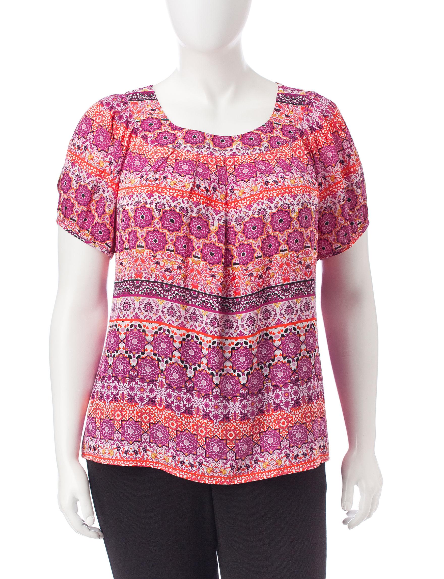 Sara Michelle Pink Multi Shirts & Blouses