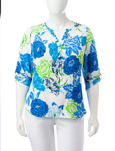 Sara Michelle Plus-size Floral Henley Top