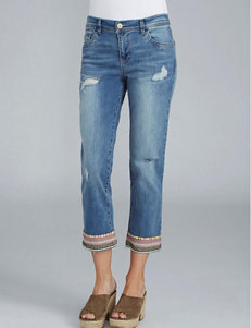 Democracy Plus-size Embroidered Hem Cropped Jeans