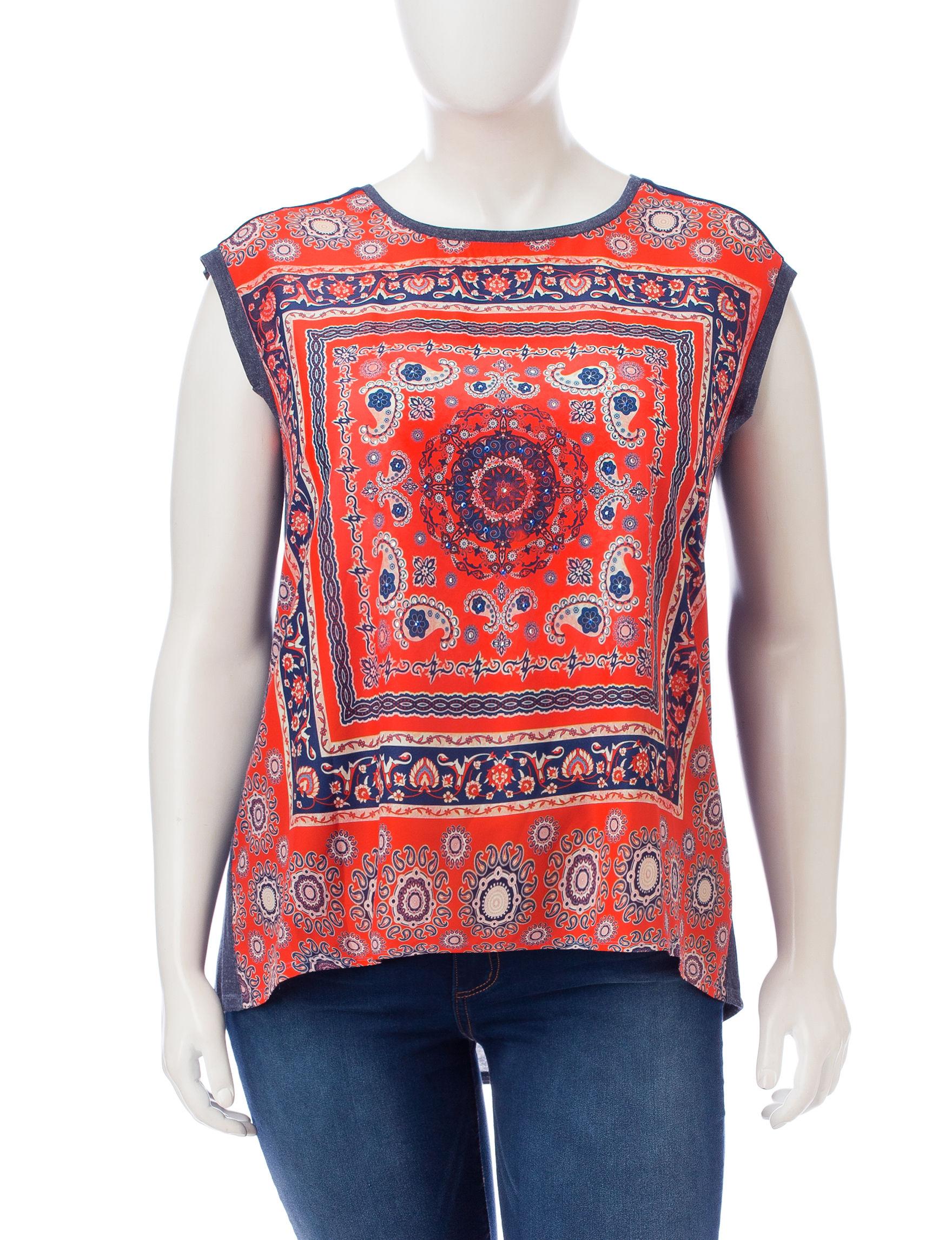 Signature Studio Blue/ Red Shirts & Blouses
