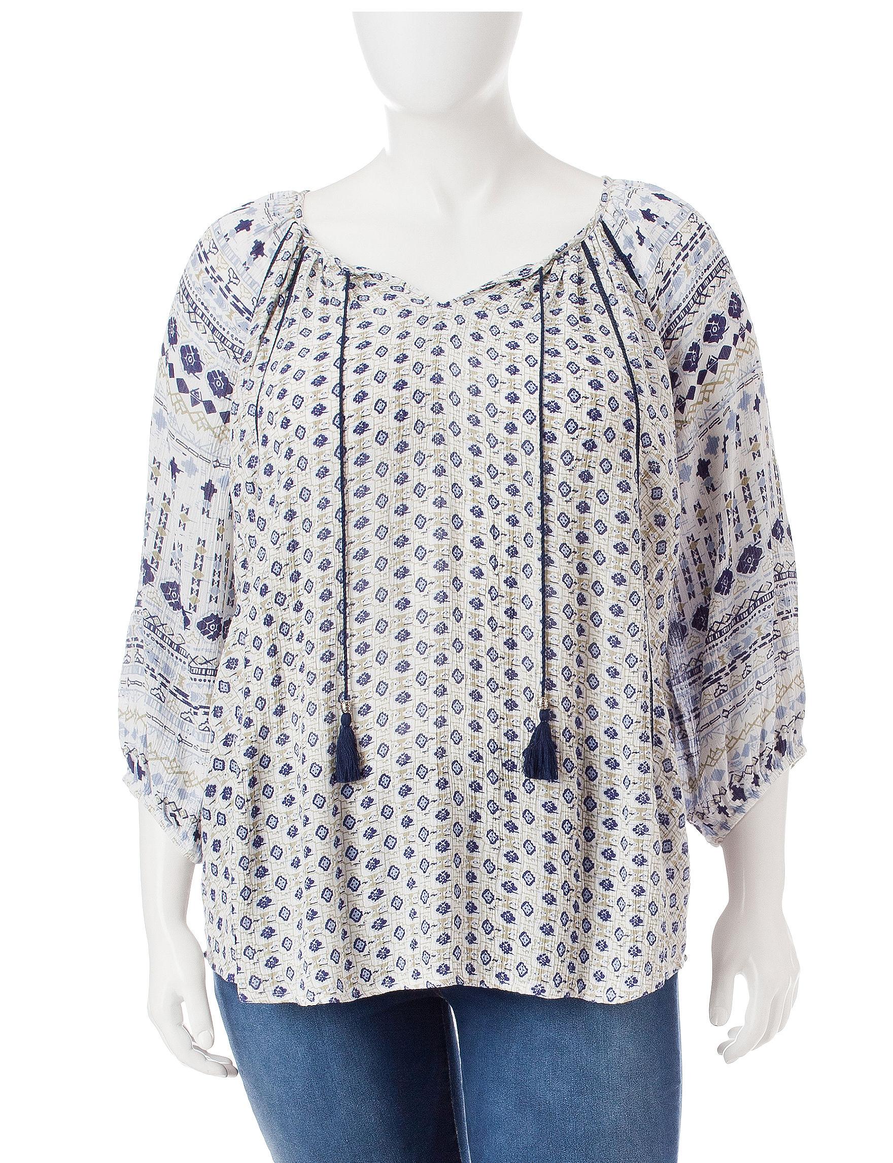 Hannah Blue Multi Shirts & Blouses