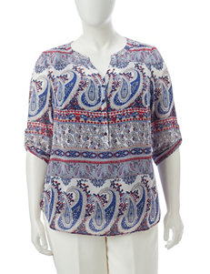 Sara Michelle Blue Multi Shirts & Blouses