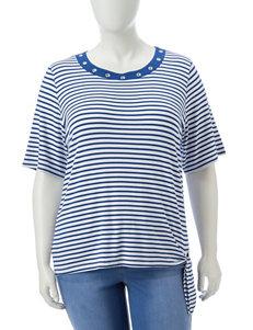 Cathy Daniels Blue / White Shirts & Blouses
