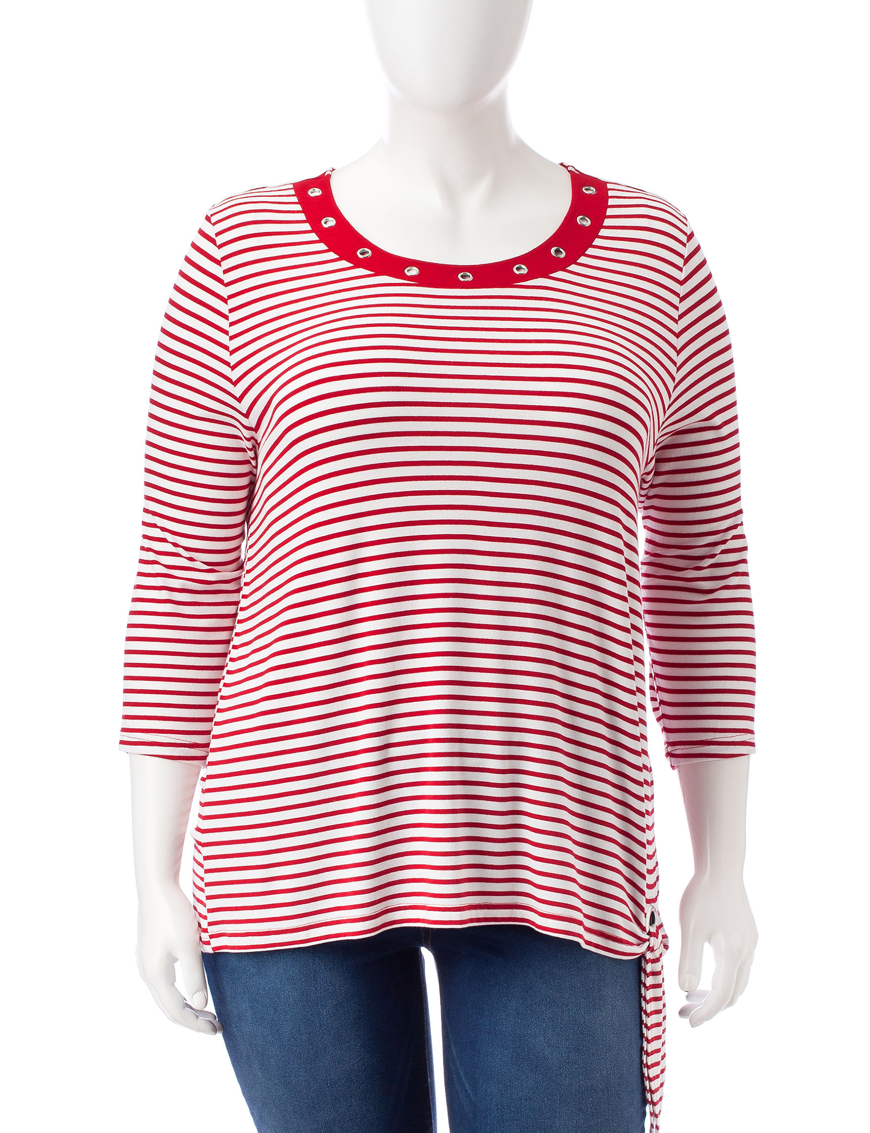 Cathy Daniels Red / White Shirts & Blouses