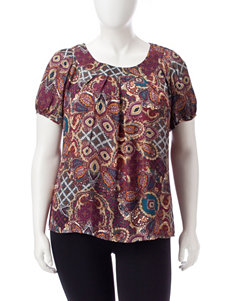 Sara Michelle Burgundy Multi Shirts & Blouses