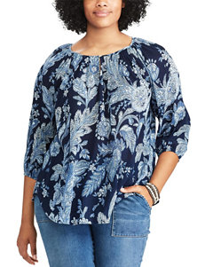 Chaps Blue Multi Shirts & Blouses