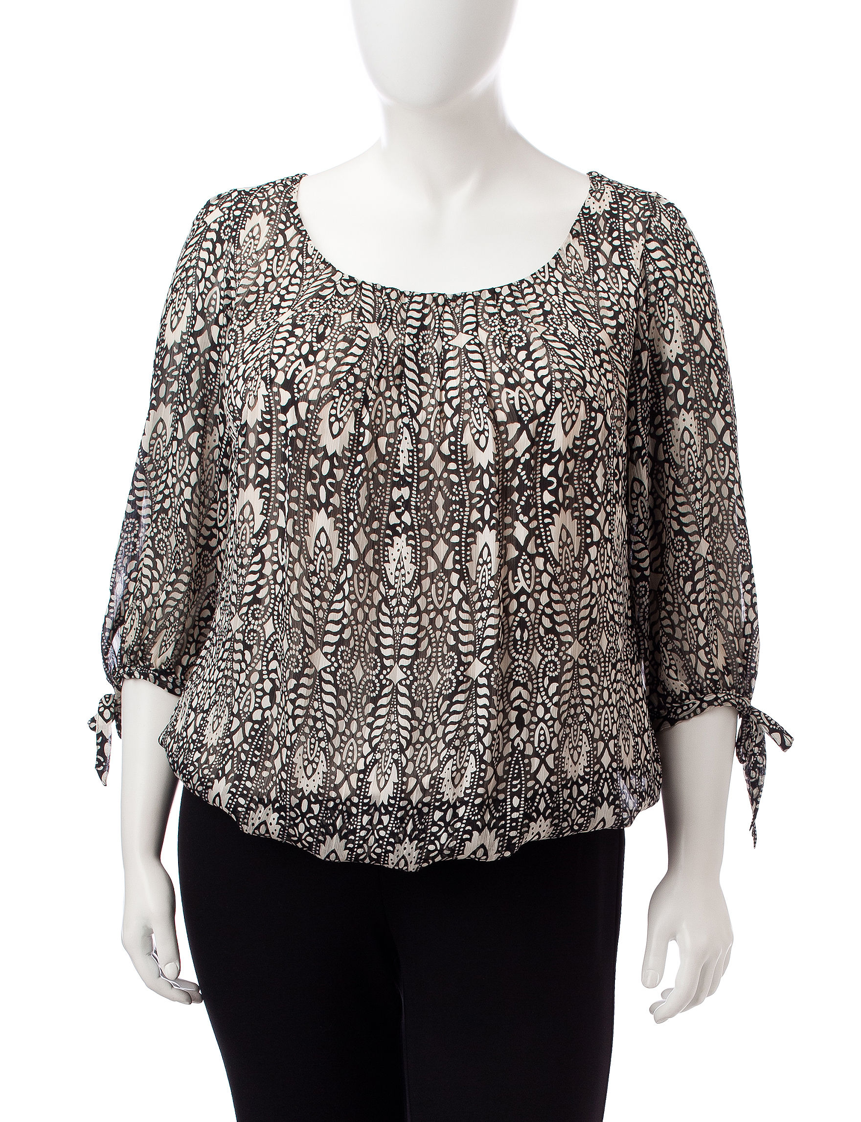 Sara Michelle Black / Beige Shirts & Blouses