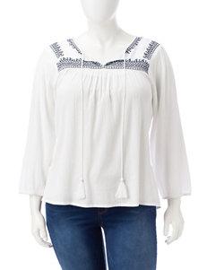 Rebecca Malone White / Navy Shirts & Blouses