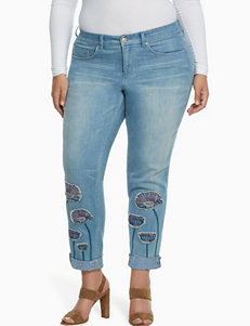 Vintage America Blues Plus-size Floral Embroidered Jeans
