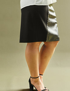 Valerie Stevens Plus-size Faux Leather Panel Skirt