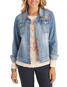 Democracy Plus-size Embroidered Jean Jacket
