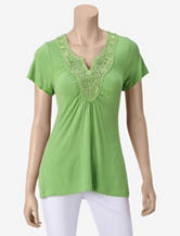 Energé Green Crochet Embellished Top – Petites