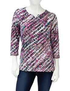 Rebecca Malone Tonal Pink Abstract Dot Print Top