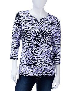 Rebecca Malone Lavender & Black Animal Print Top