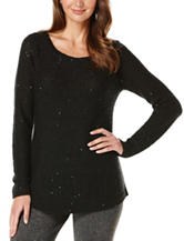 Rafaella Petites Solid Color Shimmering Knit Sweater