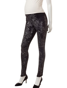 First Kick Lace Floral Print Knit Maternity Pants