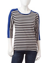 NY Collection Petite Striped Hi-Lo Top