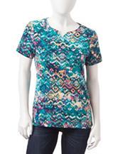 Rebecca Malone Petite Abstract Print Knit Top