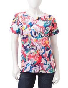 Rebecca Malone Petite Paisley Print Knit Top