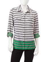 NY Collection Petite Contrast Striped Woven Top