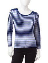 Cathy Daniels Petite Striped Knit Sweater