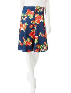 Valerie Stevens Petite Floral Print Scuba Skirt