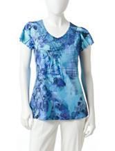 Energé Petite Blurred Floral Embellished Knit Top