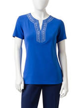 Rebecca Malone Petite Embellished Layered-Look Top