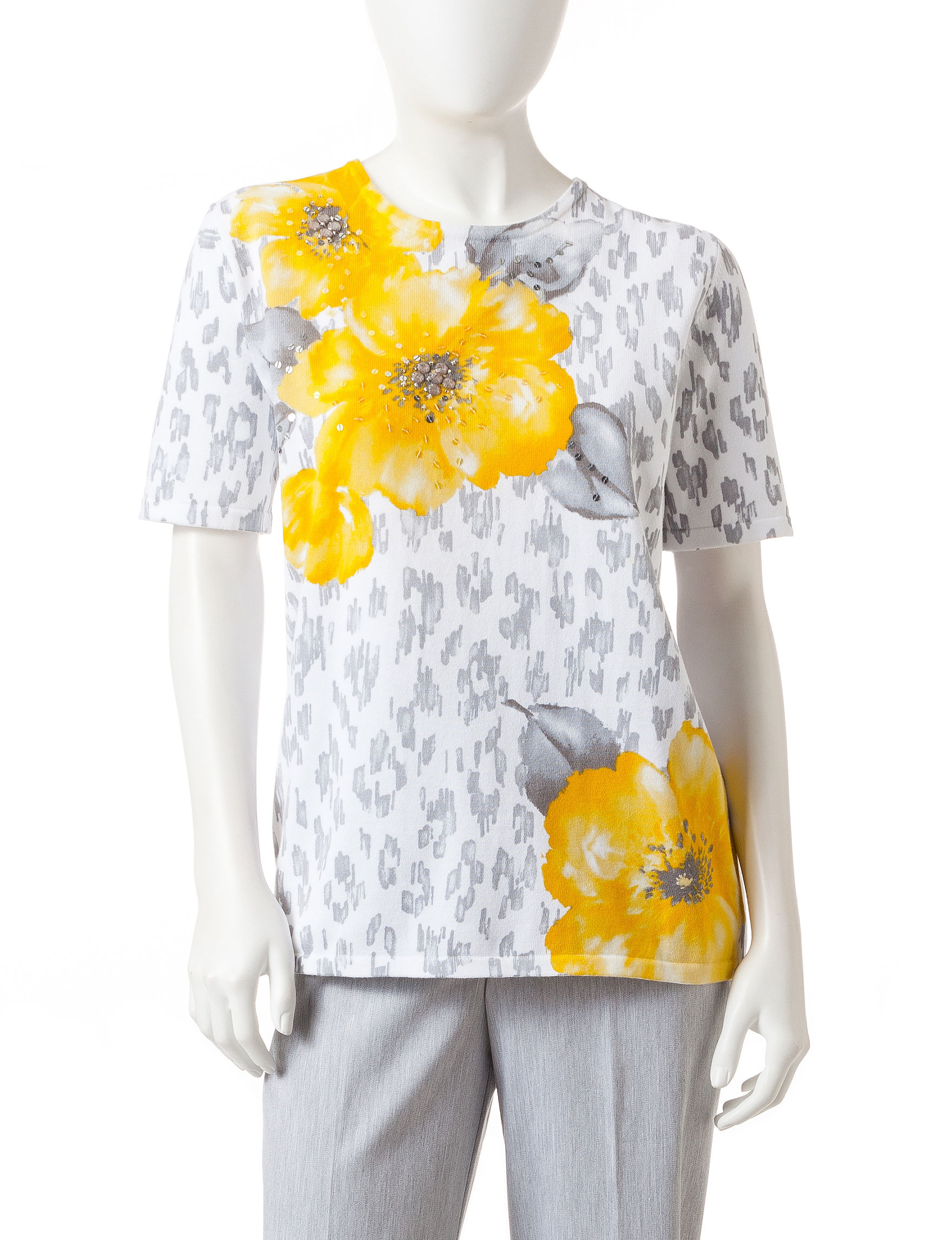 Alfred Dunner Yellow/ Grey Shirts & Blouses