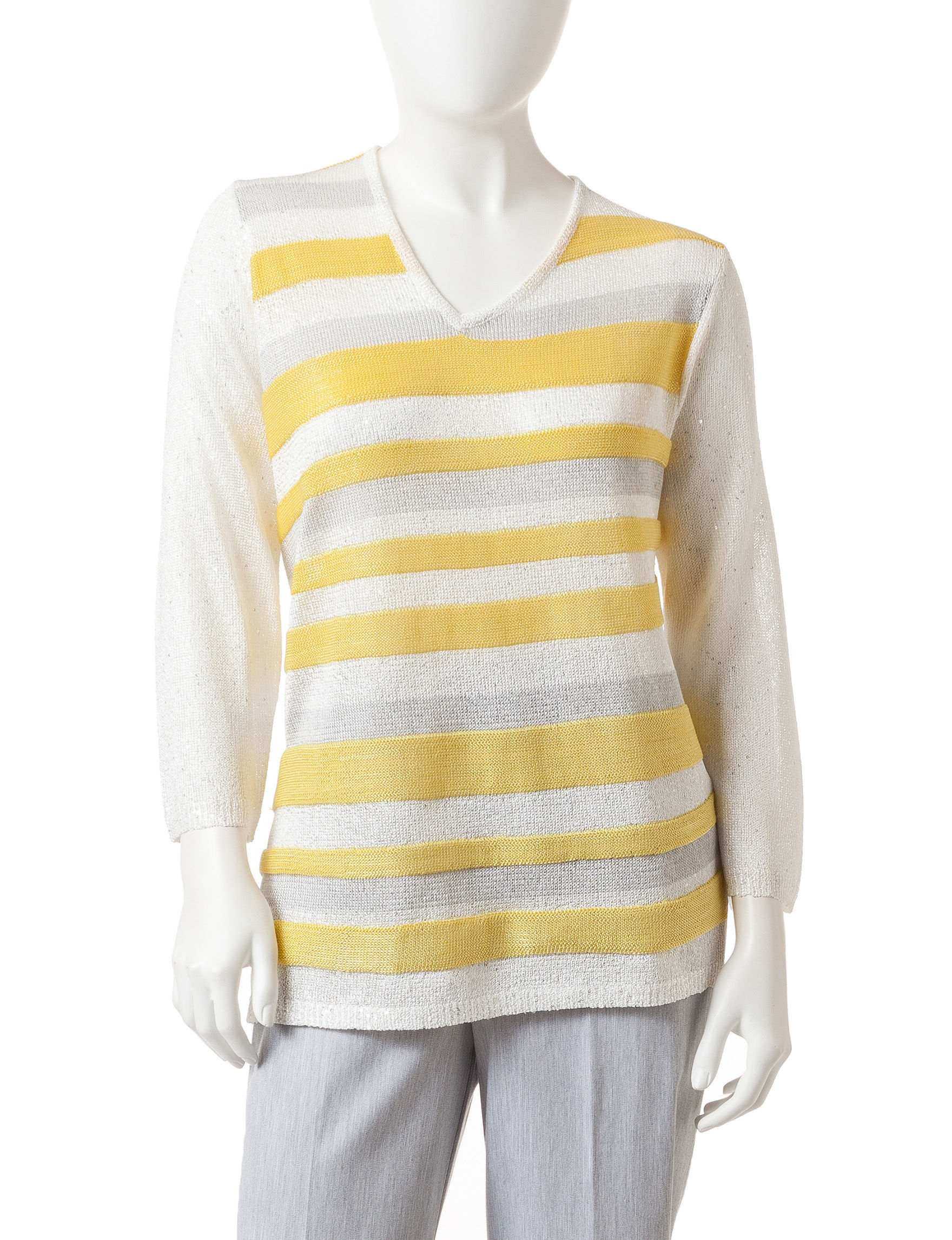Alfred Dunner Yellow/ Grey Sweaters