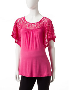 Three Season Maternity Solid Color Lace Detail Top