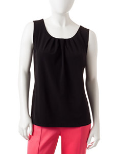 NY Collection Petite Solid Color Pleat Front Tank Top